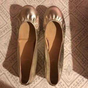 JCREW gold leather flats, size 8